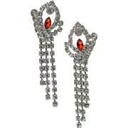 Padparadscha Rhinestone Dangle Earrings