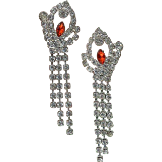 Padparadscha Rhinestone Dangle Earrings