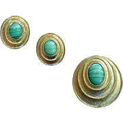 Faux Malachite Sarah Coventry Earrings and Brooch Set