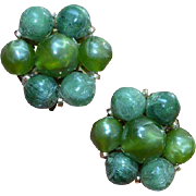West German Apple Green Beaded Earrings