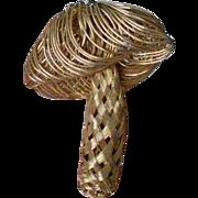 Woven Wire Mushroom Brooch Pin