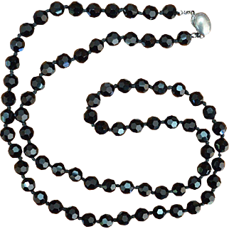 Les Bernard Black Crystal and Silver Tone Clasp Necklace