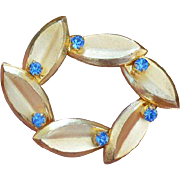 Made in AUSTRIA Cornflower Blue Rhinestone Brooch Pin