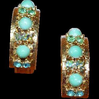 Aqua Green and Blue Earrings