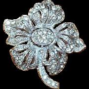 HEDY Signed Rhinestone Flower Brooch Pin