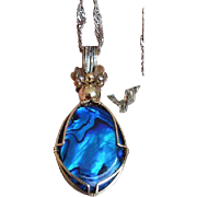 Iridescent Blue Pendant Necklace