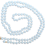 Long White Bead Necklace