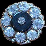 Faux Onyx Rhinestone Brooch Pin