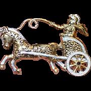 Damascene Chariot  Brooch Pin