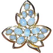 Faux Opal Leaf Brooch Pin