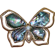 Abalone and Rhinestone Butterfly Brooch Pin