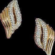 Christian Dior Pave Rhinestone Earrings