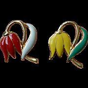 Vintage Enamel Tulip Brooch Pin Set