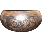 Antique Tibetan bronze singing bowl with inlay