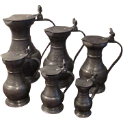 Antique Set of 6 pewter flagon with acorn thumb pieces 1759 castle mark