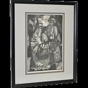 "Mid Century Etching ""Purim Figures"" by Rosin c.1957"