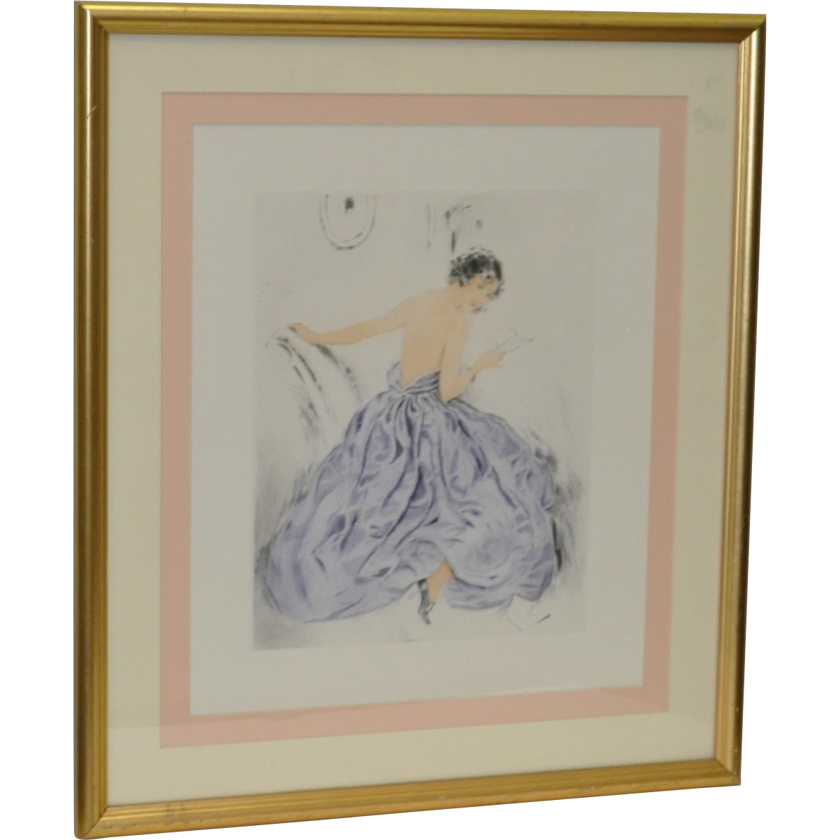 Hand Colored Etching After Louis Icart From Antique Canvas