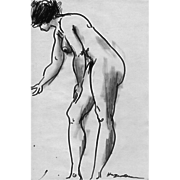Lot of Three Nude Study Sketches by Edward HAGEDORN c.1970