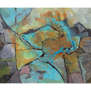 """Remarkable Abstract Oil on Canvas """"Salt Flats"""" by Bev Daley"""