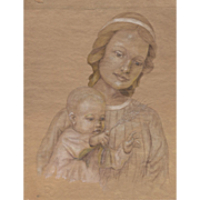 Early 20th Century Portrait of Woman with Child After Foujita
