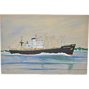 "Vintage Tanker Ship Painting ""The P.T. Trader"" c.1970"