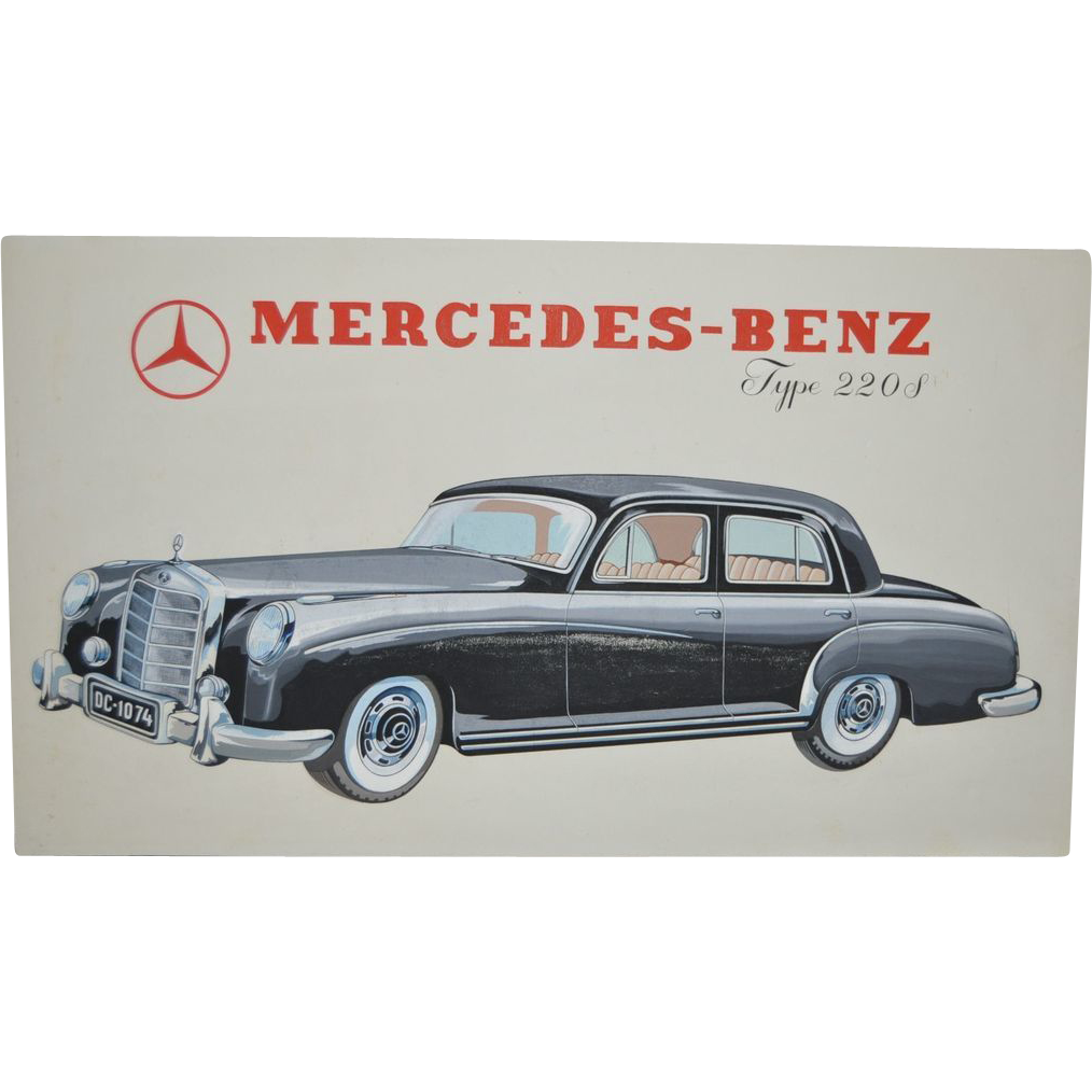 Vintage 1950 39 s mercedes benz type 220s advertisement for Mercedes benz retro