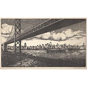 San Francisco Skyline - Bay Bridge Etching c.1930's
