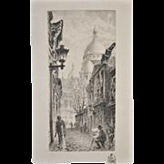 Aime Edmond Dallemagne (1822-1971) Paris Etching c.1950