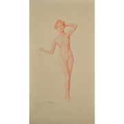 1920's Red Pastel Nude Study