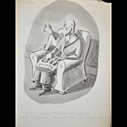 Burr Shafer (1899-1965) Original Cartoon Illustration c.1940's