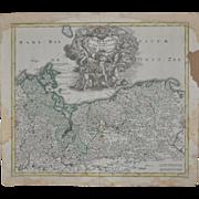 18th Century Hand Colored Pomerania Map c.1718