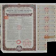 Lot of Five Repubilque Chinoise Gold Bonds c.1925