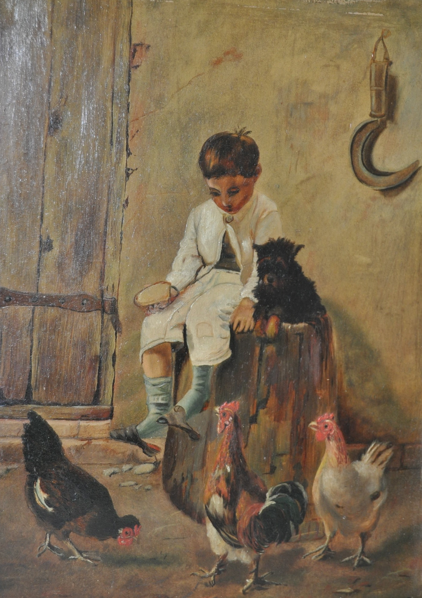 Fisherman boy antique 1870s oil painting by Louis Caradec