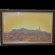 Arizona Desert Landscape Pastel c.1940