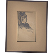 19th Century Original Graphite Portrait of a Beautiful Woman