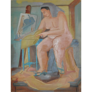 Vintage Figurative Nude Oil Painting by Nancy Larsen c.1940's