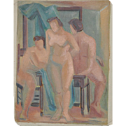 "Vintage 1940's Figurative Painting ""Three Nudes"" c.1944"