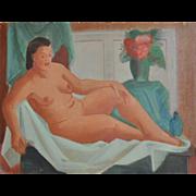 Vintage Reclining Nude by Nancy Larsen c.1940's