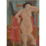 Vintage Figurative Nude Oil on Canvas c.1940's