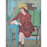 Vintage 1940's Oil Painting - Seated Woman in Striped Dress