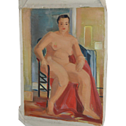 Vintage Figurative Nude Oil Painting c.1940's