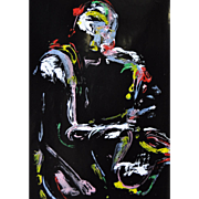 Superb Abstract Saxophone Player Acrylic on High Gloss Black Paper c.1983