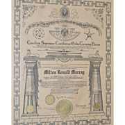 House of  Solomon's Masonic Certificate c.1917