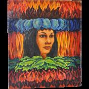 Vintage Painting of Hawaiian Goddess Pele c.1971