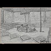 John van der Sterren (Dutch / New Zealand / Java) Original Charcoal on Paper
