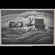 "Thomas Hart Benton Lithograph ""Rainy Day"" c.1939"