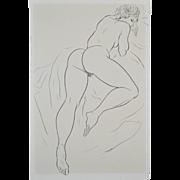 Vintage Sixties Figural Female Nude Pen & Ink by Hagedorn