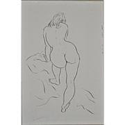 Early 1960's Figural Nude Pen & Ink by Edward Hagedorn