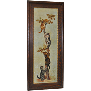 Kittens on a Branch Oil Painting c.1900