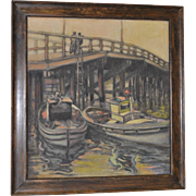 Vintage Oil Pastel Painting of Docked Boats
